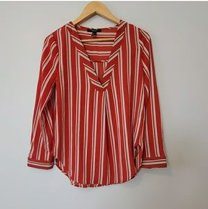 Forever 21 Red Tan White Long Sleeve Striped Top